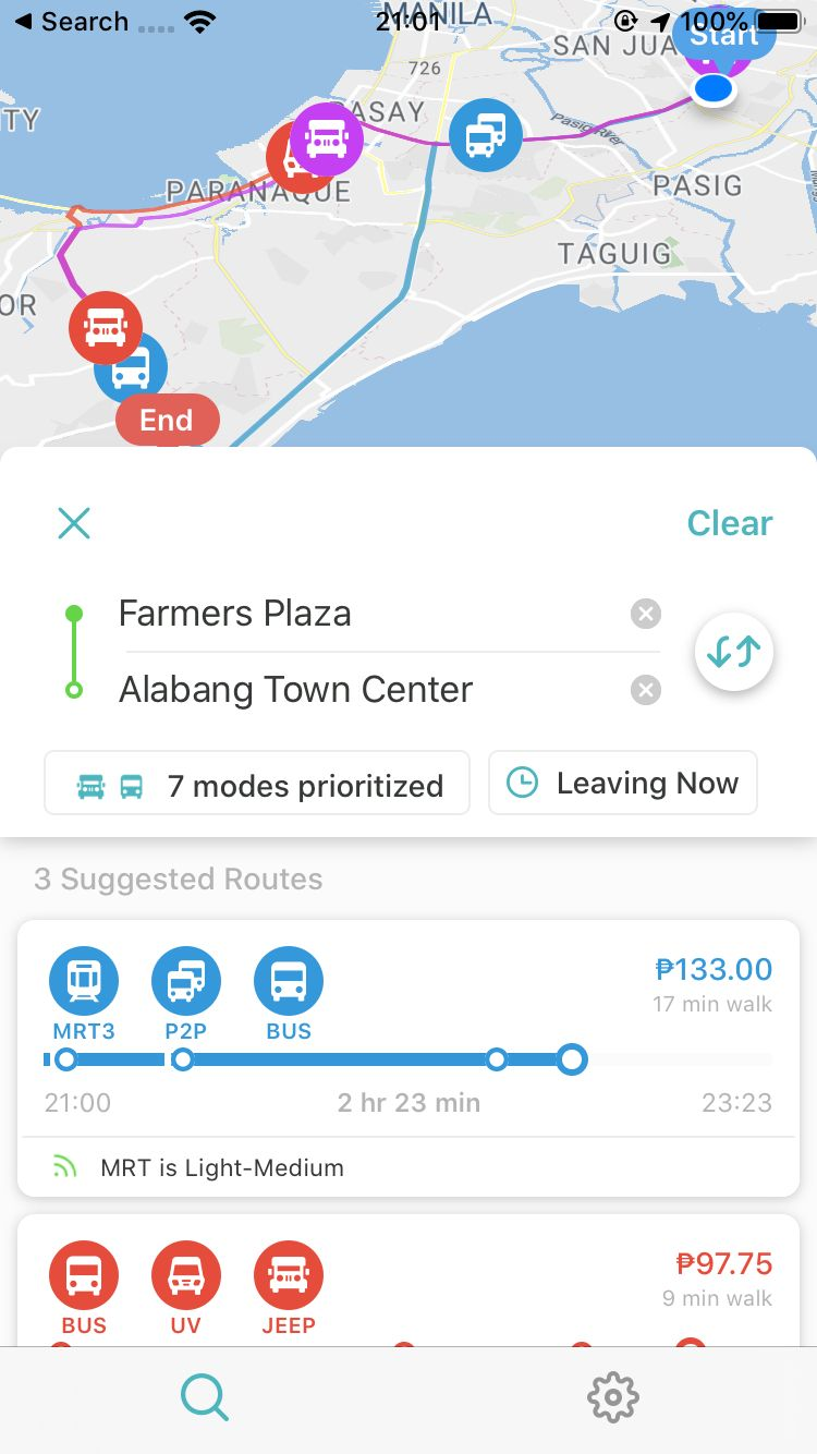 Commute directions from Farmers Plaza, Cubao to Alabang Town Center